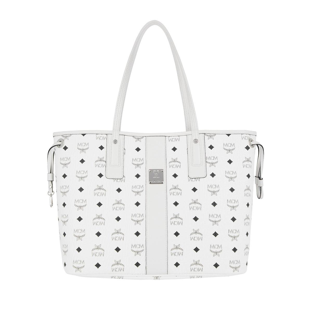 Tracolle Mcm - Shopper Reversibile Visetos Bianco Di Media Al Bianco Per Le Donne Zz9urtv