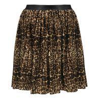 Leopard Plissé Skirt - Brown/Beige