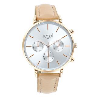 horloge met een beige leren band