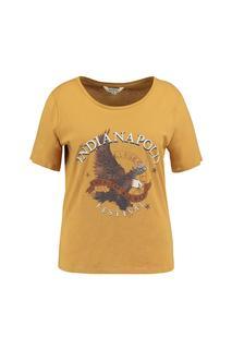 Dames T-shirt met printopdruk Geel