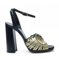 Sandalen met hak zwart/goud