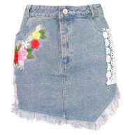 Crochet Flower Denim Skirt