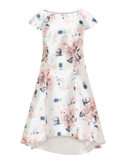 Printed dipped hem cocktail dress