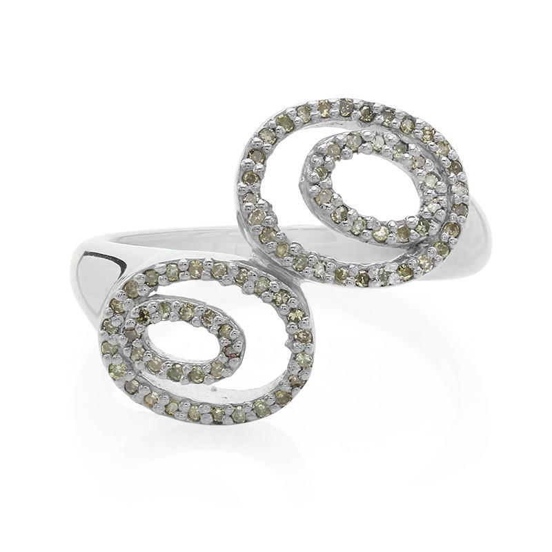 Goedkope Breed Scala Aan Juwelo Zilveren ring met Champagne Diamanten (Molloy) Goedkope Gratis Verzending Alle Maten HEdbtDWGt