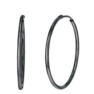 Zilveren oorringen blackplated 40mm