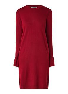Pierina fijngebreide midi-jurk van wol met klokmouw