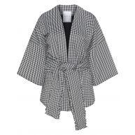 Belted check print kimono