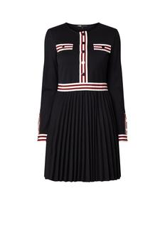 Rouli A-lijn jurk met plissé en streepdetail