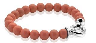 zilveren parelarmband oranje met sluiting 20cm ZIA401K-S