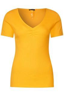 Geribd shirt met V-hals