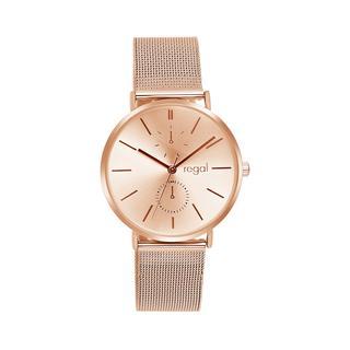 horloge met rosekleurige mesh band