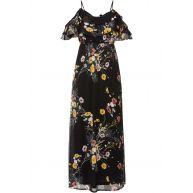 Dames cold-shoulder-jurk korte mouw in zwart - BODYFLIRT