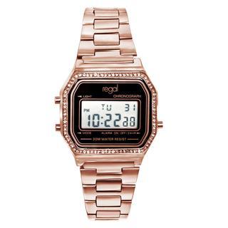 digitaal horloge met een rosé band