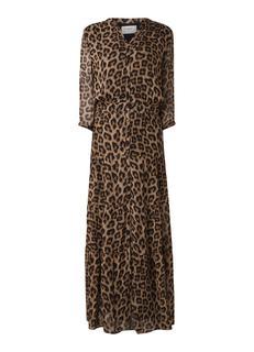 Flake maxi blousejurk met luipaarddessin