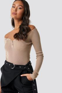 Off Shoulder Button Up Sweater