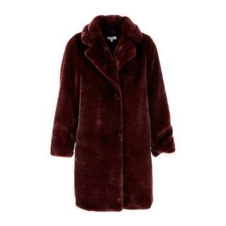 winterjas van imitatiebont bordeaux rood