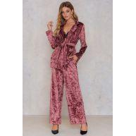 NA-KD Trend Velvet Tie Waist Blazer - Pink