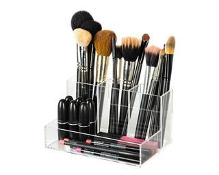 Brush Holder Make-up Organizer - L11 x B19 x H10.5 cm - Hoogwaardig acryl - Handmade - Brushes - Eyeliner - Lippenstift - Interieur - Opbergsysteem - Visagie - Kastje - Kaptafel - Slaapkamer