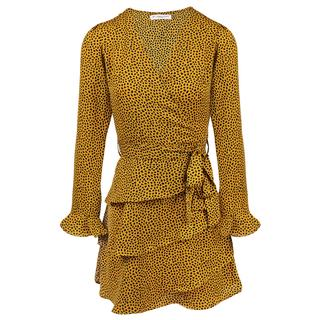 Yellow Longsleeve Dotted Layer Dress