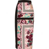 Roze halflange rok met oriëntaalse print