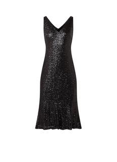 Mouwloze midi-jurk met pailletten