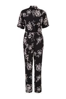 Jumpsuit met bloemenprint zwart