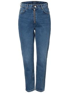 Hight Waist Mom Fit Jeans Dames Blauw