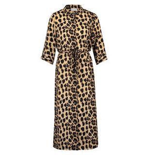 Victoria midi jurk met luipaardprint