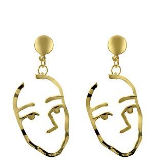 Goudkleurige byoux oorbellen met gezicht