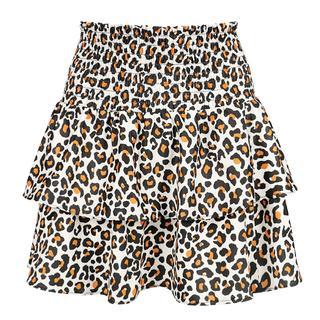 Ruffle Leopard Skirt - White
