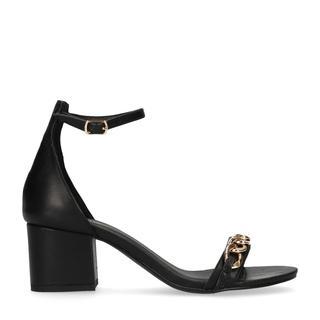 Zwarte sandalen met hak en detail