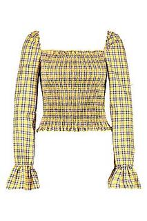 Tall Shirred Gingham Crop Top