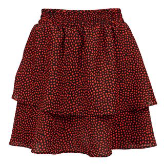 Red Dotted Double Layer Skirt - Black
