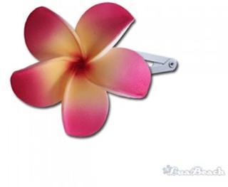 Hawai bloemen haarspeld geel roze