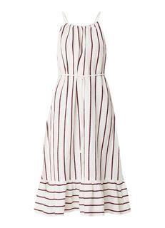 Braid jurk in linnenblend met streepdessin en ruches