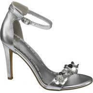 Zilveren sandalette bloemen