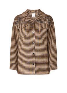 Mantel van wol met strass en ruitdessin