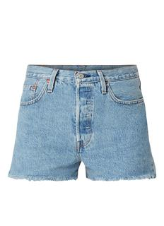 501 high waist denim shorts met gerafelde zoom