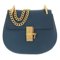 Chloé Schoudertassen - Drew Crossbody Bag Goatskin Denim Blue in blauw voor dames