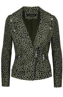 Suede Biker Jacket Cheetah Army