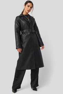 Belted PU Coat