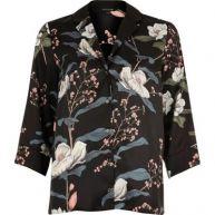 Zwart pyjamashirt met bloemenprint