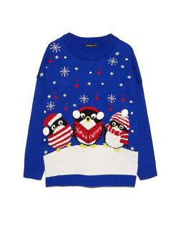 Kersttrui met pinguïns Blauw