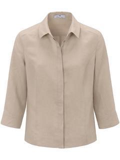 Blouse van 100% linnen met 3/4-mouwen beige