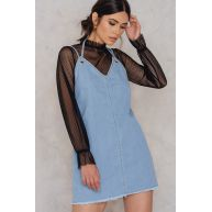 NA-KD Deep Back Denim Dress - Blue