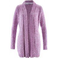 Dames gebreid vest lange mouw in paars - bpc bonprix collection