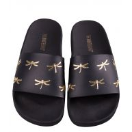 The White Brand Slippers Dragonfly Zwart