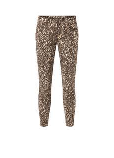 Low waist slim fit jeans met luipaarddessin