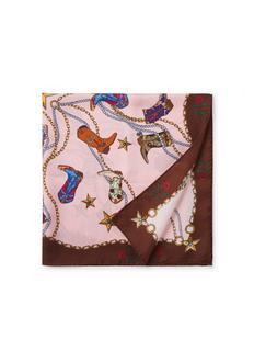 Sjaal van zijde met dessin 70 x 70 cm