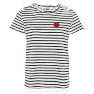 Striped Little Heart Top - White